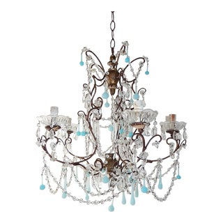 French Robins Egg Blue Opaline Beaded Chandelier, circa 1890 For Sale