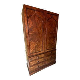 Vintage Burled Wood Armoire For Sale