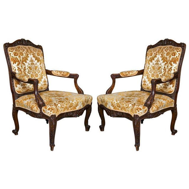 Pair of French Louis XV Style 1930s Walnut Armchairs ...