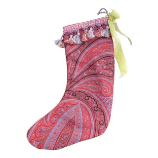 19th Century Scottish Paisley Christmas Stocking For Sale