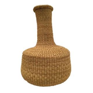 Natural Fluted Grass Floor Basket For Sale