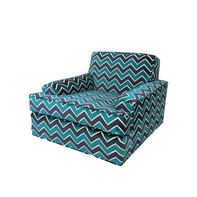 """Mid-Century Modern retro zig zag pattern newly upholstered lounge chair in turquoise and navy. Seat H Front 18"""", towards..."""