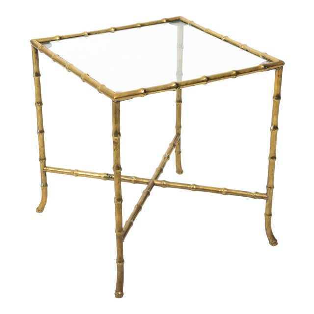 1960s Hollywood Regency Solid Brass Faux Bamboo Side Table For Sale