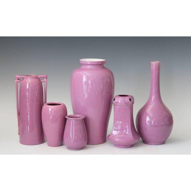 Pink Awaji Pottery Art Deco Vase in Pink Glaze For Sale - Image 8 of 9