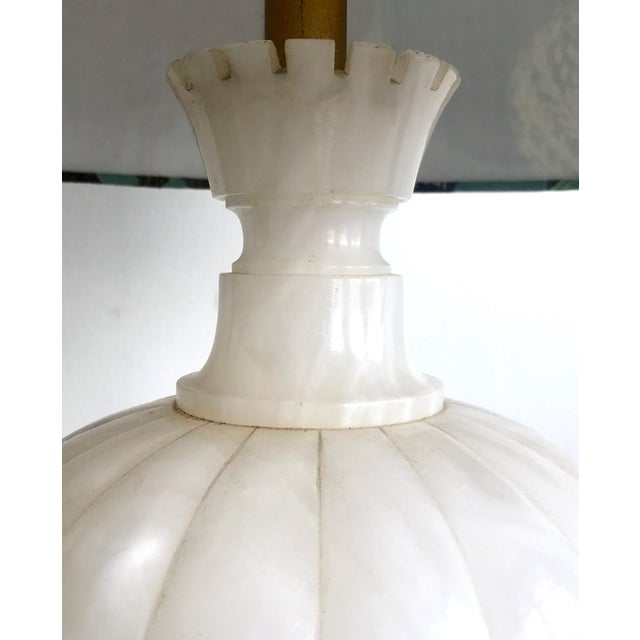 1950s 1950s Vintage Tall Alabaster Lamp With Carved Moroccan Design For Sale - Image 5 of 9
