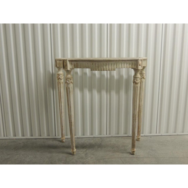 Painted White Vintage Louis XVI Style Console Table Frame For Sale - Image 9 of 9