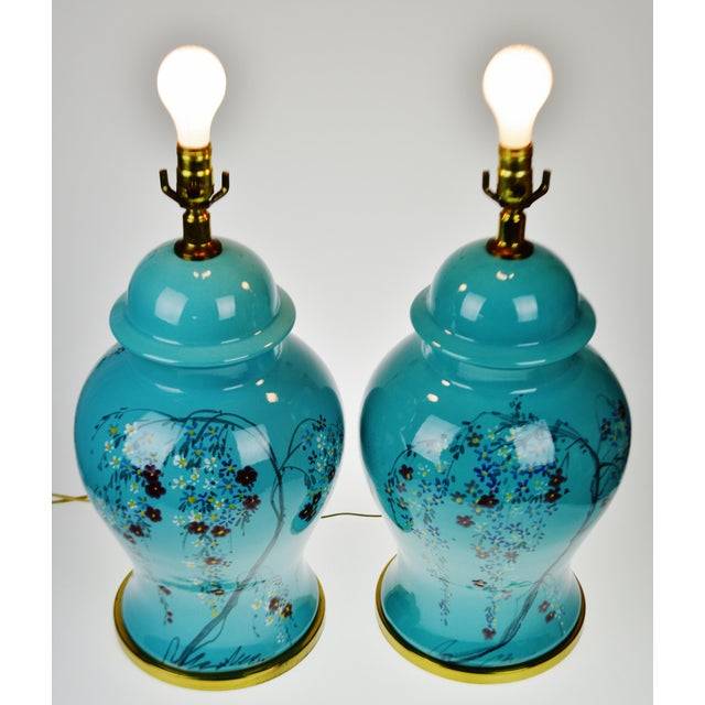 Vintage Large Scale Aquamarine Blue Hand Painted Asian Ginger Jar Lamps - A Pair - Image 4 of 11