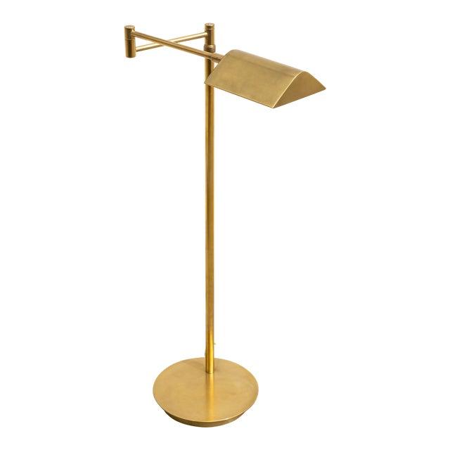 Vintage Brushed Brass Pharmacy Floor Lamp For Sale