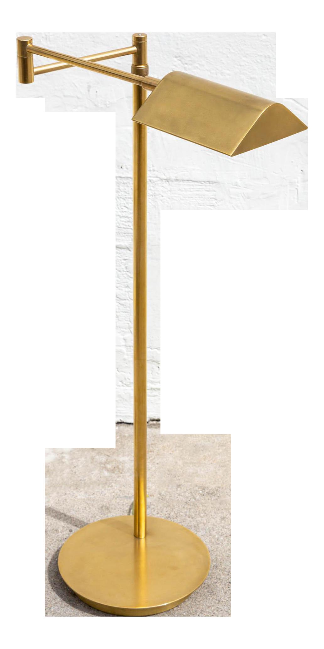 Image of: Vintage Brushed Brass Pharmacy Floor Lamp Chairish
