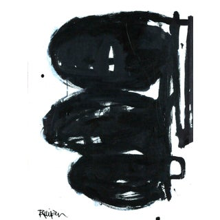 """""""3 Black Ovals"""" Contemporary Minimalist Abstract Acrylic Painting by Robbie Kemper For Sale"""