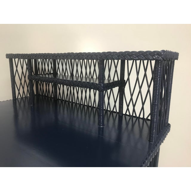 1960s Navy Rattan Writing Desk With Topper For Sale In West Palm - Image 6 of 9