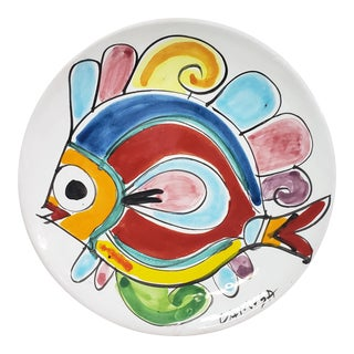 1960s La Musa Pottery Fish Plate, Sicily, Italy For Sale