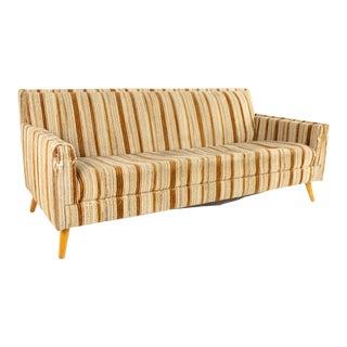 Paul McCobb Mid Century Brown Striped Sofa For Sale