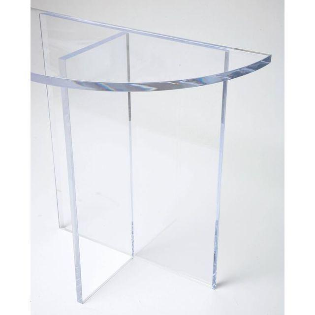 Transparent Custom Designed Charles Hollis Jones Style Demilune Clear Lucite Console - Showroom Sample For Sale - Image 8 of 12
