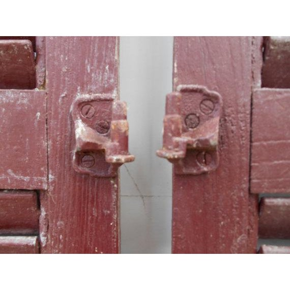 Rustic Primitive Red Shutters - A Pair For Sale - Image 3 of 6