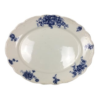 Allertons England Mona Blue & White Floral Serving Platter For Sale