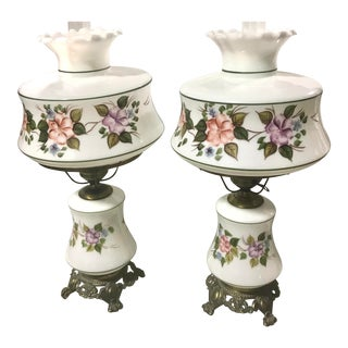 Mid Century Hurricane Lamps- A Pair For Sale
