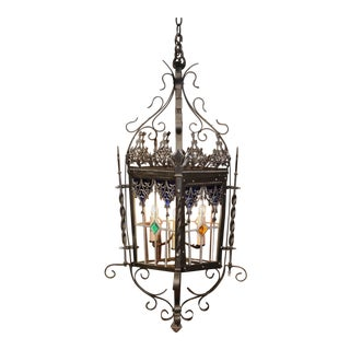 19th Century, French Napoleon III Iron Four-Light Lantern With Stained Glass For Sale