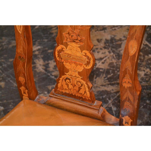 Queen Anne Set of Six 19th Century Dutch Marquetry Inlaid Dining Chairs For Sale - Image 3 of 11