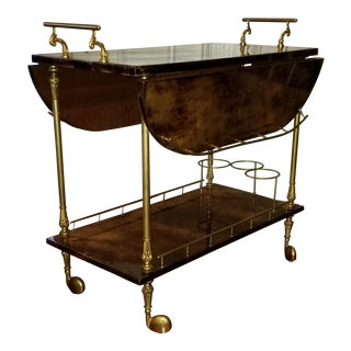 1960s Hollywood Regency Aldo Tura Laquered Goat Skin Bar Cart For Sale