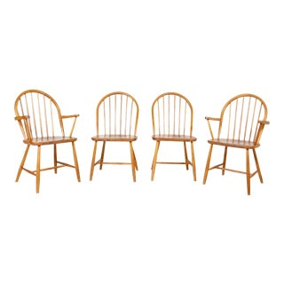 1960s Vintage Erik Ole Jorgensen Danish Teak Windsor Chairs- Set of 4 For Sale