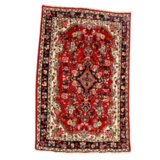 Persian Pure Silk Hand Knotted Area Rug - 5′4″ × 8′3″ For Sale