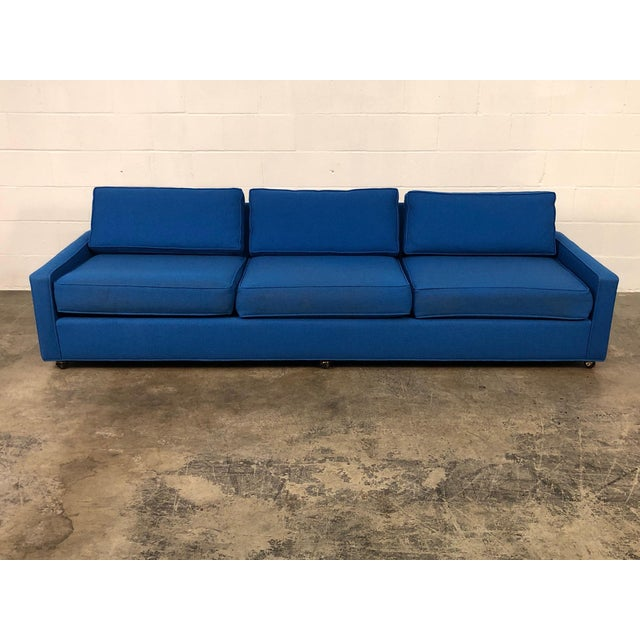"Mid-Century Modern Royal Blue Mid-Century Modern Sofa ~ 103"" Long For Sale - Image 3 of 11"