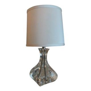 Lead Crystal Modernist Miniature Lamp Base With Shade For Sale