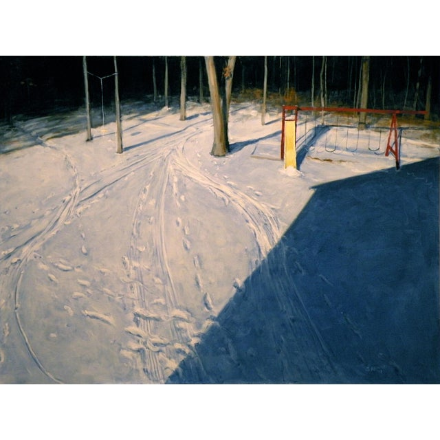 """White Modern """"Backyard on a Winter Afternoon"""" Painting by Stephen Remick For Sale - Image 8 of 8"""