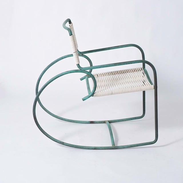 Single Walter Lamb Bronze and Rope Patio Rocking Chair - Image 3 of 5