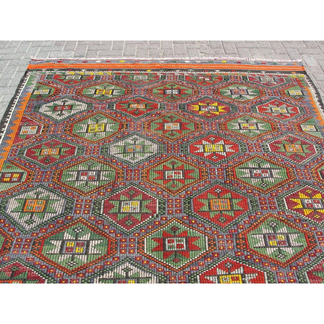 "Blue Vintage Turkish Kilim Rug - 6'9"" x 8'3"" For Sale - Image 8 of 11"