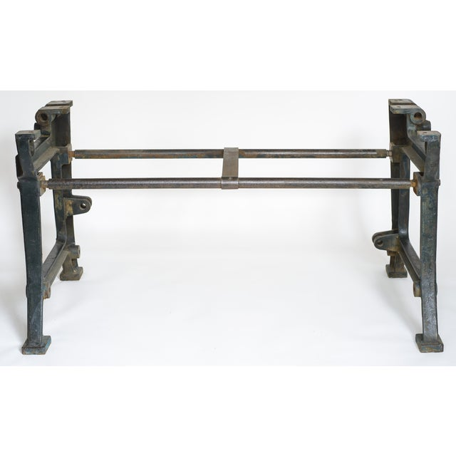 Industrial Iron and Wood Worktable From France - Image 3 of 8