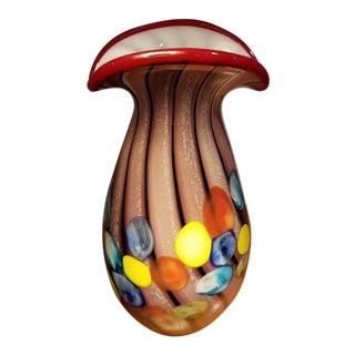 Vintage Mid-Century Multi-Color Art Glass Vase