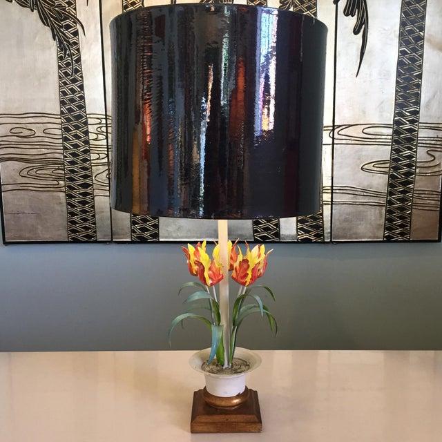 Green Vintage Tole Floral Lamp For Sale - Image 8 of 8