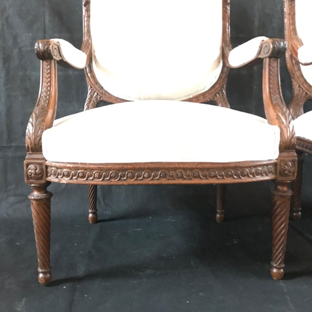 French Carved Walnut Armchairs - a Pair For Sale In Portland, ME - Image 6 of 11