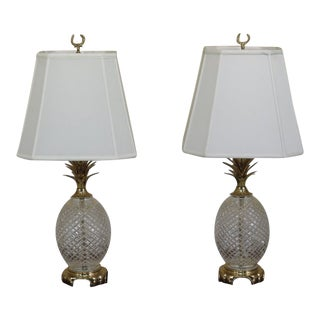 Waterford Crystal & Brass Pineapple Table Lamps - a Pair
