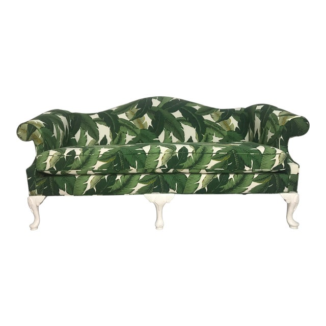 Vintage Camel Back Sofa in Tommy Bahama Palm Print Fabric For Sale