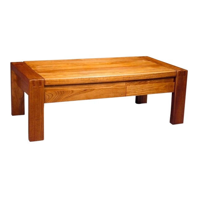French 1960s Pierre Chapo Crafted Oak Coffee Table For Sale