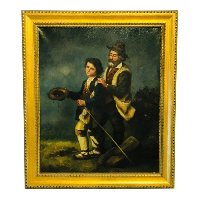 19th Century French Peasants, Oil on Canvas For Sale