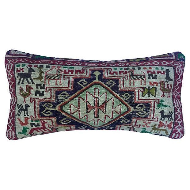Silk Sumak Rug Pillow W/ Animal Motif - Image 1 of 6