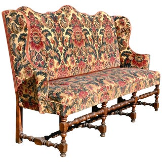 Early 18th Century Italian or Flemish Walnut High Back Wing Settee or Sofa For Sale