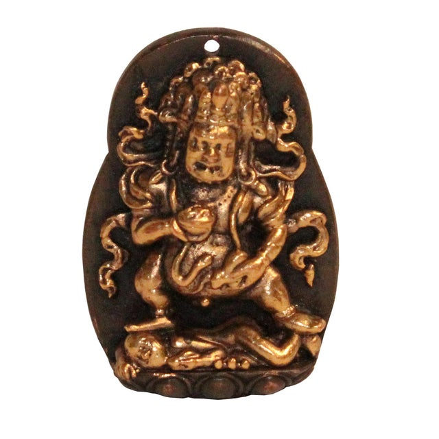Metal Chinese Handmade Metal Tibetan Zambala Jambhala Pendant Display For Sale - Image 7 of 7