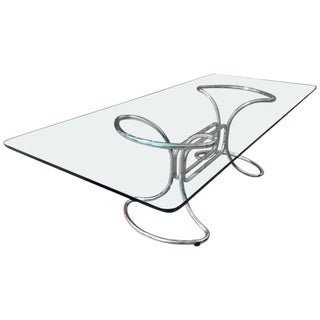 1970s Mid-Century Modern Giotto Stoppino Glass and Steel Tube Dining Table For Sale