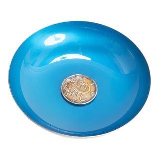 Reed and Barton Silverplate Bowl with Blue Enamel Interior For Sale