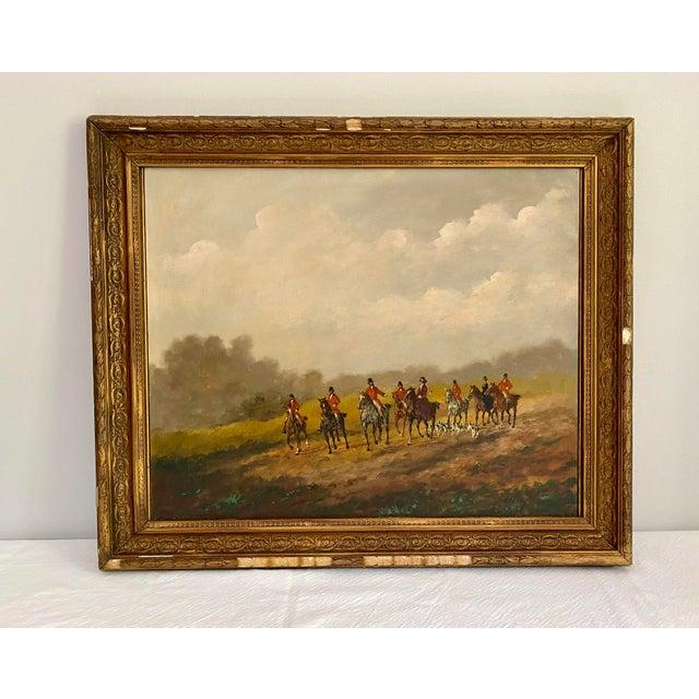 Antique Framed Hunt Scene Painting For Sale - Image 13 of 13