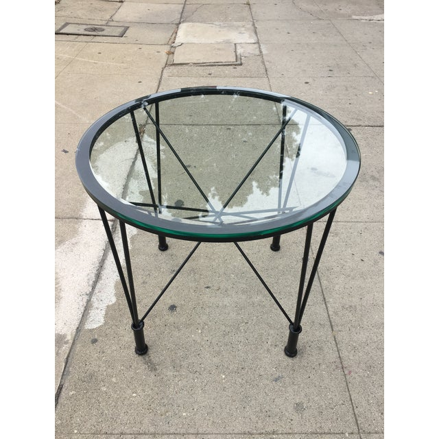 Fantastic postmodern round side table in the manner of Max Sauze. Very elegant design with gorgeous thick original round...