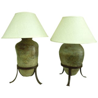 Large Pair of Antique Vessel Lamps for Steve Chase For Sale