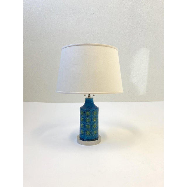 """A beautiful pair of """"Rimini Blue"""" table lamps designed by Bitossi in the 1960s. This lamps have been newly rewired with..."""