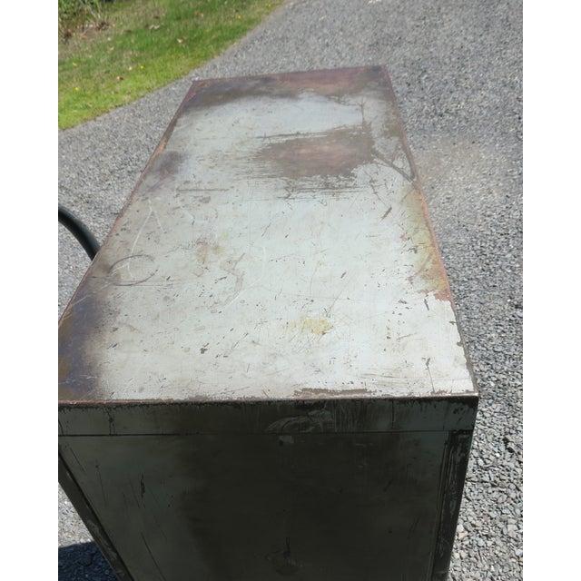 Vintage Industrial Metal File Cabinet For Sale - Image 9 of 11