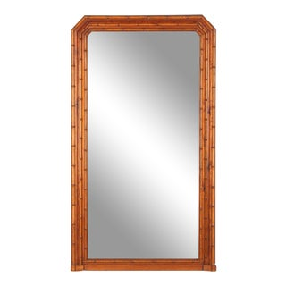 Late 19th Century Antique Napoleon III French Colonial Style Bamboo Mirror For Sale